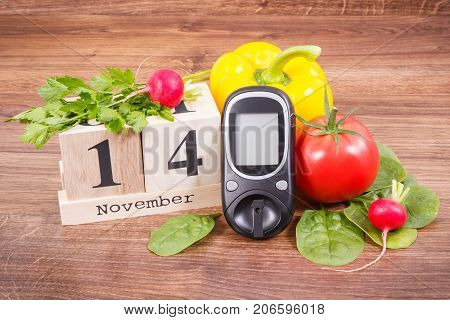 Date 14 November, Glucose Meter For Checking Sugar Level And Vegetables, World Diabetes Day And Figh