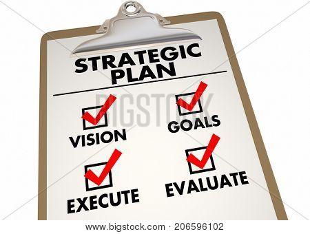 Strategic Plan Clipboard Checklist Action Items 3d Illustration