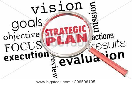 Strategic Plan Magnifying Glass Strategy Goals 3d Illustration poster