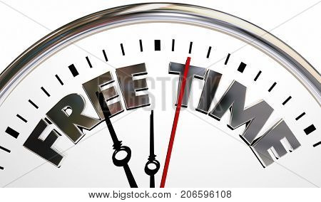 Free Time Clock Spare Break Moments 3d Illustration