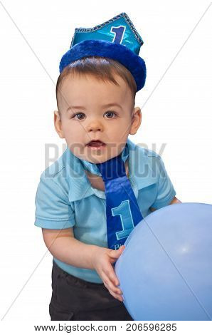 Boy First Birthday One year old holding balloon with no background