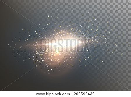 Illustration of Vector Flash LIght Lens Flare. Transparent Light with Explosion Effect