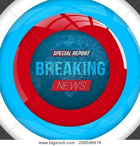 Illustration of Breaking News Vector Opener. Broadcast Open Scene on Glowing Earth Planet Background