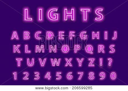 Modern trendy pink neon alphabet on a purple background. LED glowing letters font. Luminescent number. Vector illustration