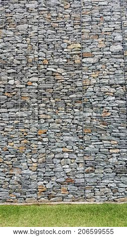 Gabion Retaining Wall Blocks with Mesh Wire Stone Basket and grass in the front