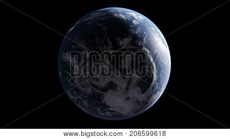 Night Pacific Ocean between Asia Australia and America on Earth globe in middle of night lights glow Hawaiian Islands isolate globe on black background elements of this image are furnished by NASA 3D rendering