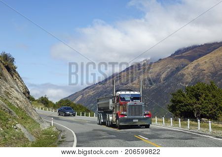 Westland, New Zealand: October 17, 2015: Freight transportation on the mountain roads on South Island, New Zealand.