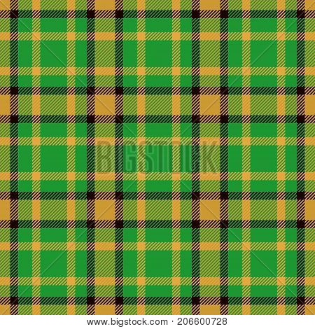 Tartan Seamless Pattern Background. Green Black and Gold Plaid Tartan Flannel Shirt Patterns. Trendy Tiles Vector Illustration for Wallpapers.