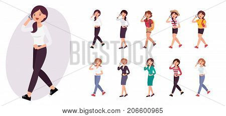 Cartoon Character Design Female Woman Walking And Talking On The Smart Phone Collection