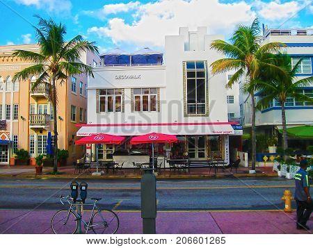 Miami, USA - January 01, 2014: The hotels in the touristic avenue Ocean Drive, Miami Beach, Florida on January 01, 2014