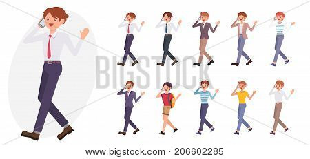 Cartoon Character Design Male Business Man Talk With Smart Phone Happily Collection