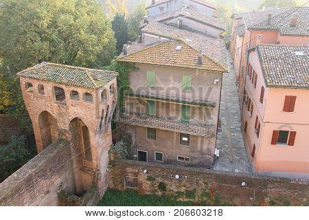 Historic city center of Vignola Italy. Top view