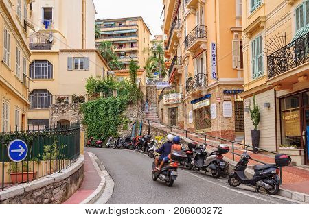 Rue Paradis on the steep densely populated hillside of Monaco-Ville - Monaco, 8 July 2013