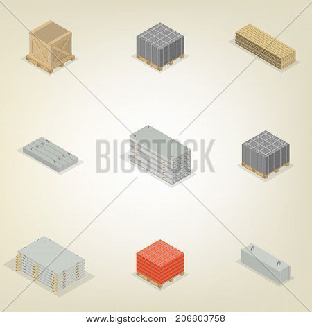 Set of different building materials isolated on white background. Brick cinder block wood and iron concrete products. Flat 3d isometric style vector illustration.