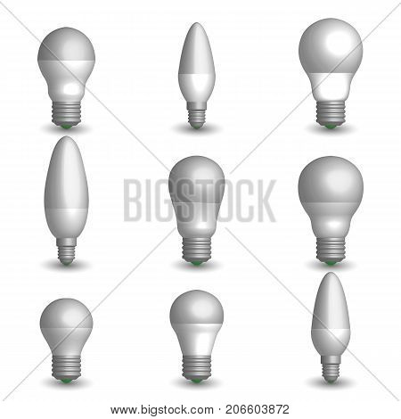Set of various photo realistic LED and energy-saving light bulbs. Element for the design of electrical components. 3D style vector illustration.