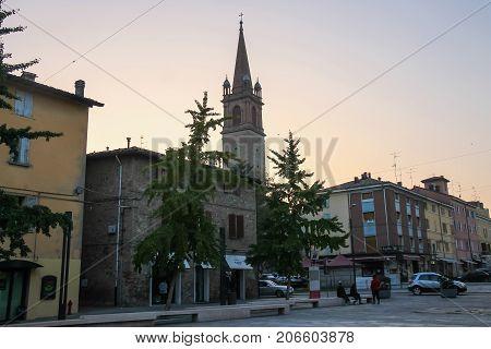 Vignola Italy - October 30 2016: People resting in historic city centre Emilia-Romagna Modena