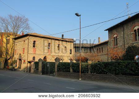 Vignola Italy - October 30 2016: Old buildings in historic city center. Emilia-Romagna Modena