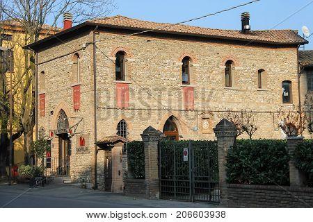 Vignola Italy - October 30 2016: Old building of italian restaurant Castello. Emilia-Romagna Modena