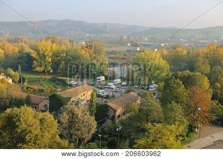 Vignola Italy - October 30 2016: Parking cars in Vignola. Emilia-Romagna Modena