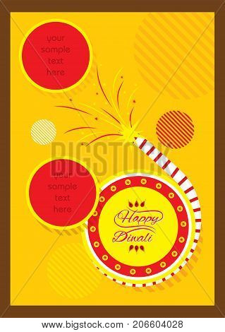 A beautiful greeting card with decorated cracker indian diwali festival celebration design