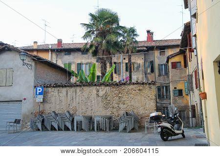 Vignola Italy - October 30 2016: Old residential buildings in city center. Emilia-Romagna Modena