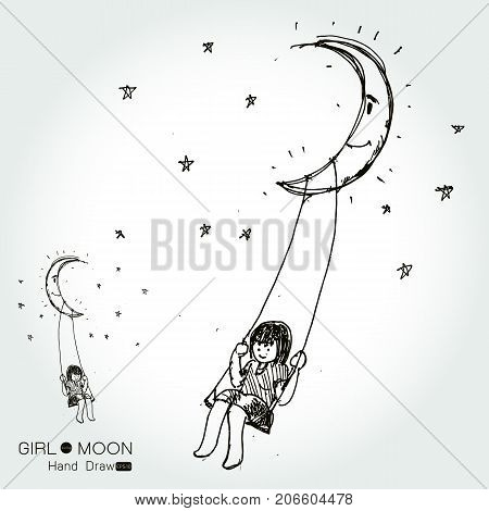 girl swinging on a moon drawing by hand from imaginationVector illustration