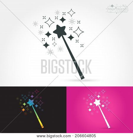 Magic wand isolate icon with magic sparkle on white background Vector illustration