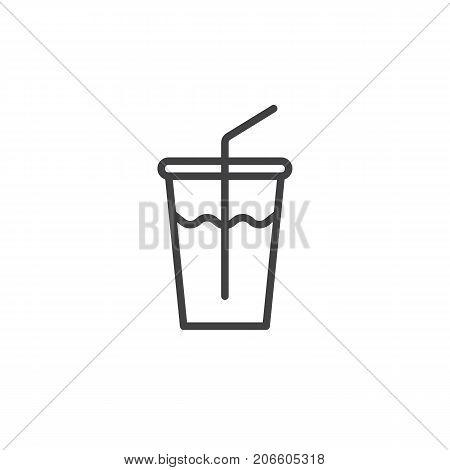 Soft drink glass line icon, outline vector sign, linear style pictogram isolated on white. Symbol, logo illustration. Editable stroke