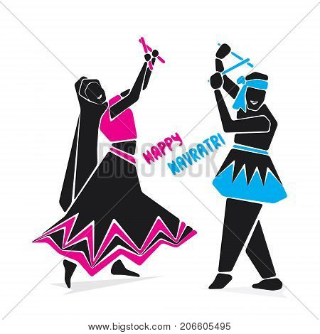 happy navratri playing dandiya dance poster design