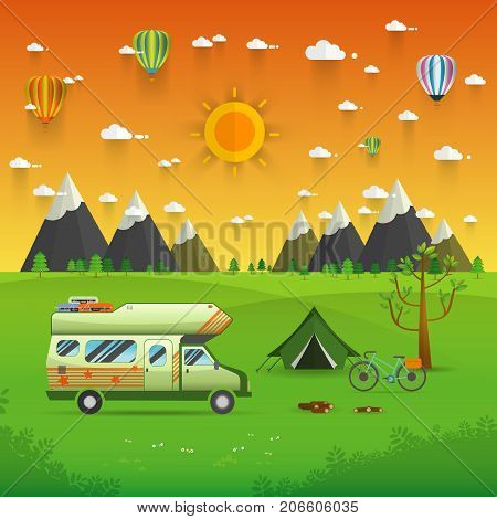 National mountain park camping scene with family trailer caravan . Campsite place landscape with RV traveler truck tentbike campfire Hiking journey vacation concept.vector illustration