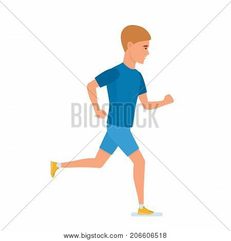 Doing sports, training athlete, healthy lifestyle of sportsman. Young athlete is engaged in athletics, jogging on outdoor. Sports training, side view. Character person running, cartoon style.