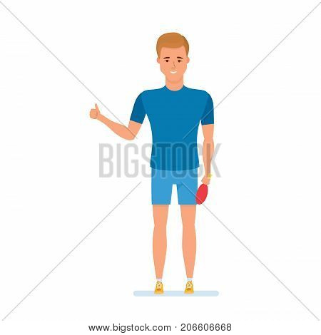 Athlete plays table tennis, demonstration gestures with gesture of approval, k, smiles. Illustration in cartoon style.