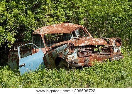 old rusty car at garden  under grass