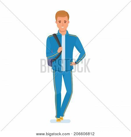 Doing sports, training, healthy lifestyle for athlete, outdoor activities. Character person sportsman. Athlete in sports clothes, with bag on shoulder, goes to training. Illustration in cartoon style.