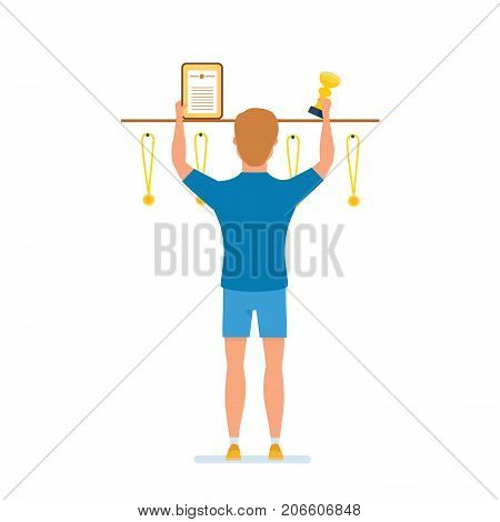 Sport success, training sportsman, healthy lifestyle. Character person sportsman. Athlete replenishes collection of awards, diplomas, medals. Success, growth, victory Illustration in cartoon style