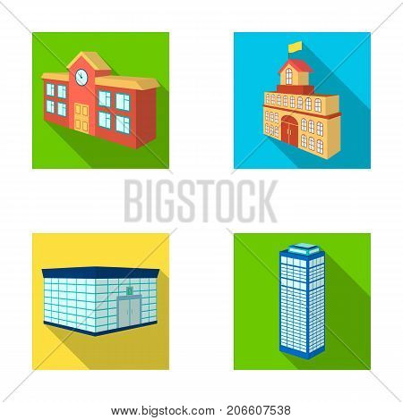 Bank office, skyscraper, city hall building, college building. Architectural structure set collection icons in flat style vector symbol stock illustration .