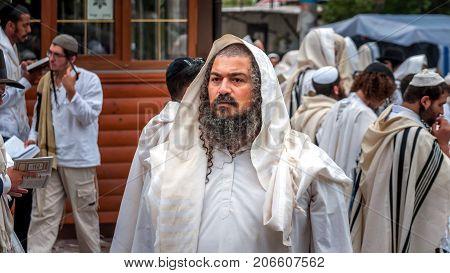 Hasid pilgrim on the city street. Uman Ukraine - 21 September 2017: holiday Rosh Hashanah Jewish New Year.