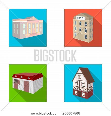 The museum building, a three-story hotel, a stable at the racecourse, a residential cottage. Architectural building set collection icons in flat style vector symbol stock illustration .