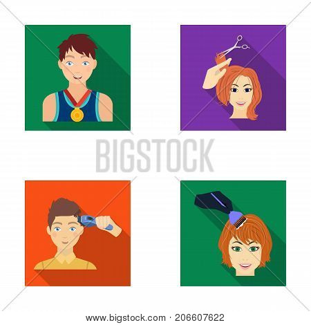Athlete with a medal, a haircut with an electric typewriter and other  icon in flat style. Women's haircut, hair coloring in the hairdresser's icons in set collection.