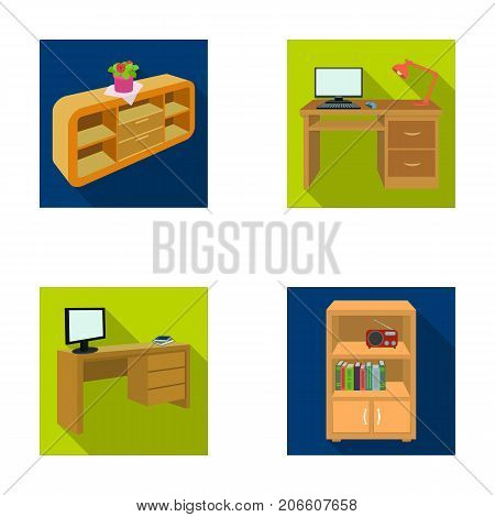 A shelf with a flower, a desk with a computer and a lamp, a table with a monitor and a book, a cabinet with documents and a radio.Furniture and interior set collection icons in flat style isometric vector symbol stock illustration .