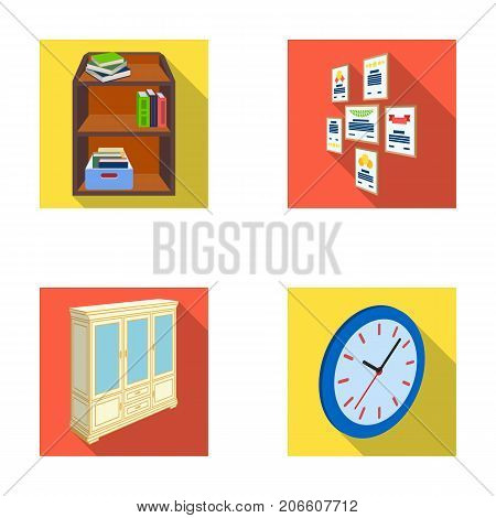 Cabinet, shelving with books and documents, frames on the wall, round clocks. Office interior set collection icons in flat style isometric vector symbol stock illustration .
