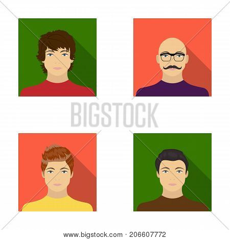 The appearance of the young guy, the face of a bald man with a mustache in his glasses. Face and appearance set collection icons in flat style vector symbol stock illustration .