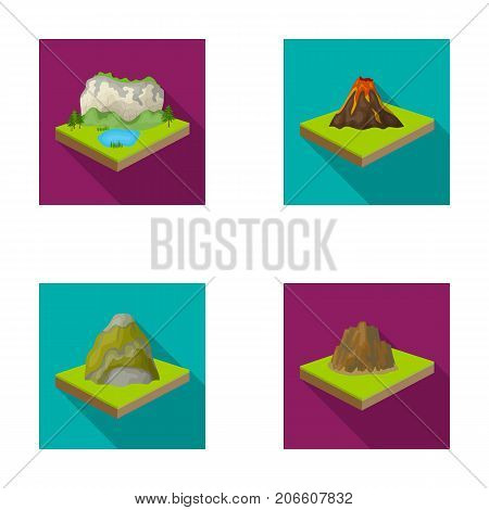 Mountains, rocks and landscape. Relief and mountains set collection icons in flat style isometric vector symbol stock illustration .