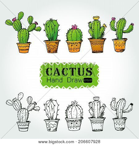Collection of cactuses in flower pot isolate object line art from hand drawing from imagination on white background Vector illustration