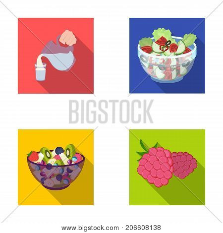 Fruit, vegetable salad and other types of food. Food set collection icons in flat style vector symbol stock illustration .