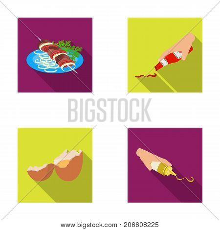 Shish kebab with vegetables, ketchup and mustard, seasoning for food, broken egg. Food and Cooking set collection icons in flat style vector symbol stock illustration .