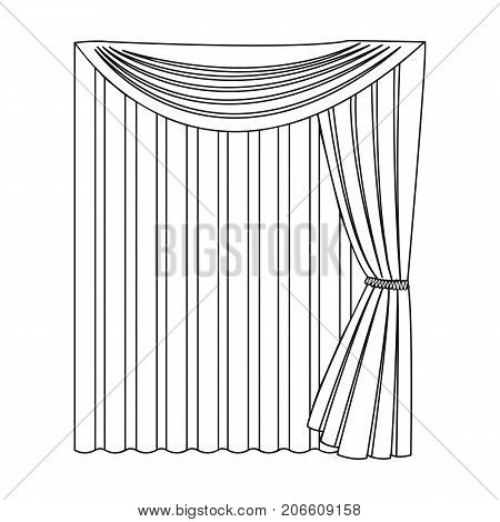 Curtains, single icon in outline style.Curtains vector symbol stock illustration .