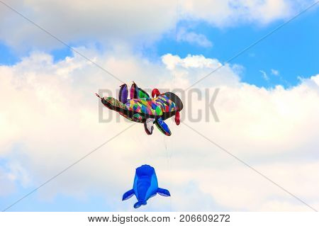 Colorful Kite Free To Fly In The Clear Sky, A Beautiful Summer Day,