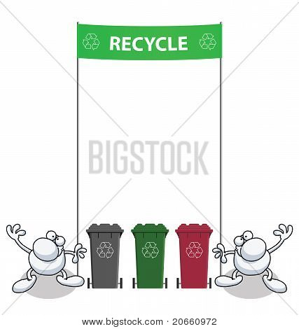 Men holding green banner with recycling message poster