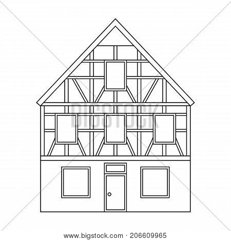 House single icon in outline style.House vector symbol stock illustration .